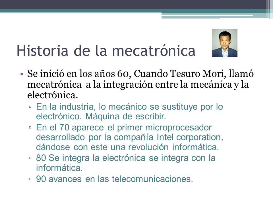 Historia de la mecatrónica Se inició en los años 60, Cuando Tesuro Mori, llamó mecatrónica a la integración entre la mecánica y la electrónica. En la