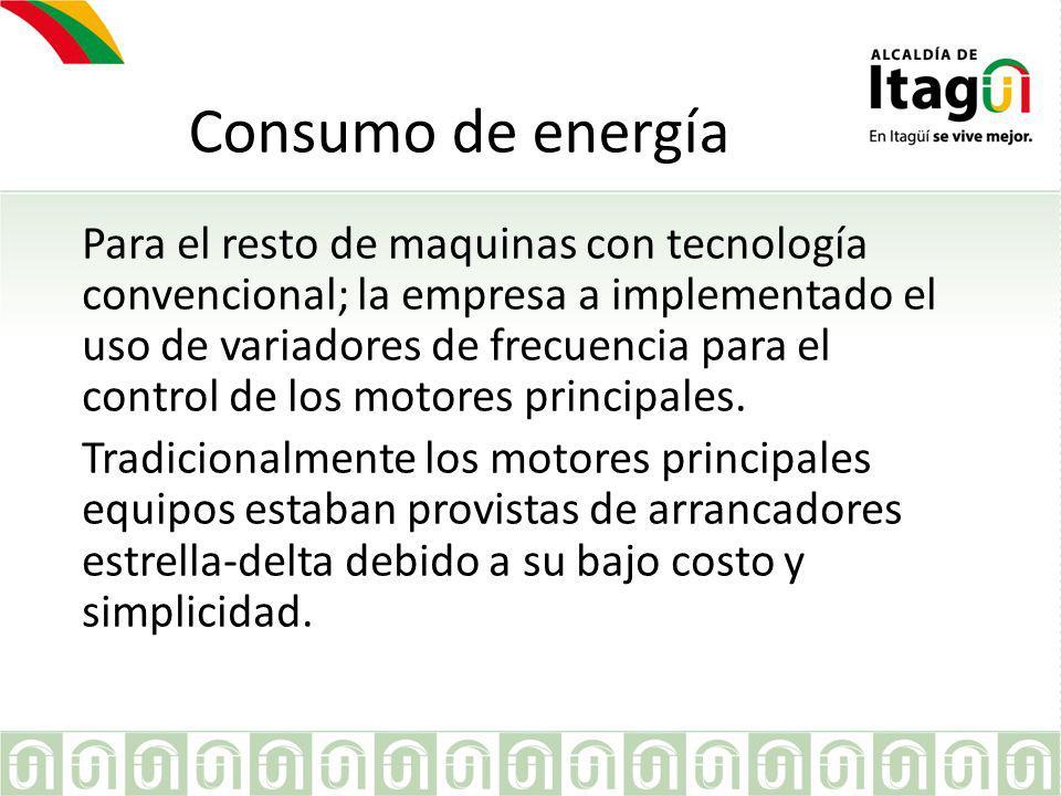 Consumo de energía Los variadores de frecuencia, permite arranques mas suaves de los motores de gran tamaño, que evita la generación de grandes picos de consumo.