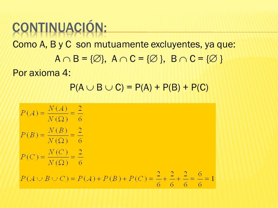 Como A, B y C son mutuamente excluyentes, ya que: A B = { }, A C = { }, B C = { } Por axioma 4: P(A B C) = P(A) + P(B) + P(C)