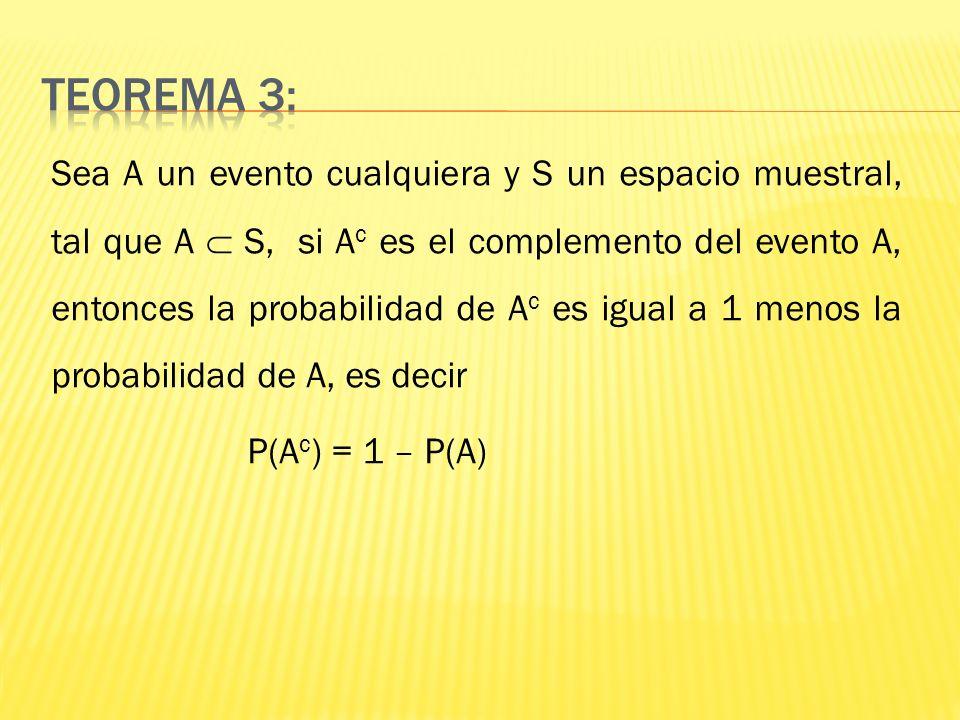 Sea A un evento cualquiera y S un espacio muestral, tal que A S, si A c es el complemento del evento A, entonces la probabilidad de A c es igual a 1 m