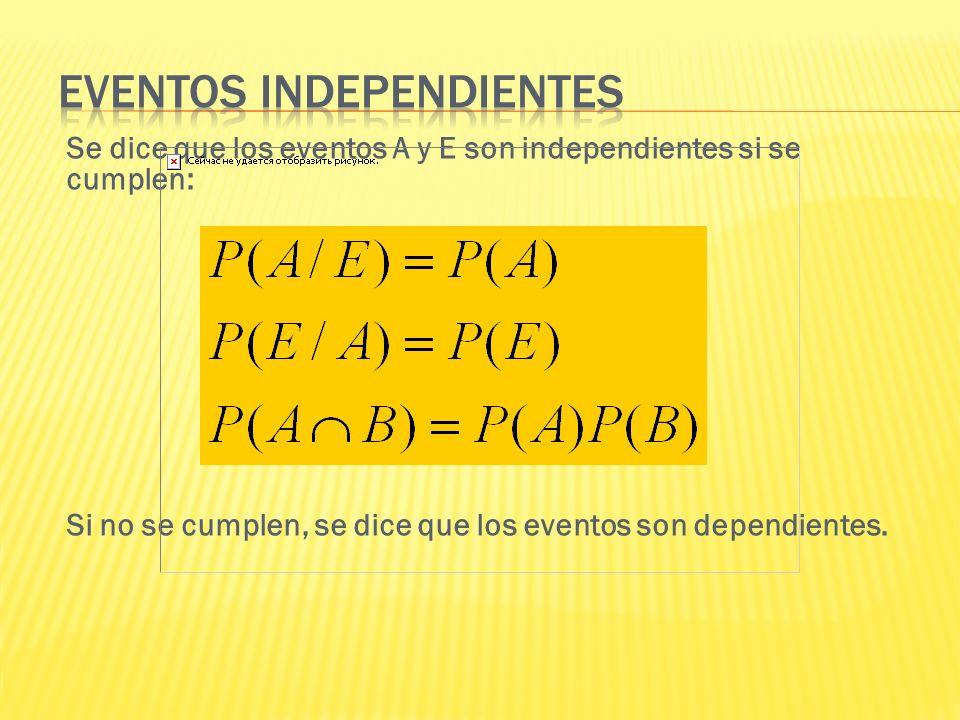 Se dice que los eventos A y E son independientes si se cumplen: Si no se cumplen, se dice que los eventos son dependientes.