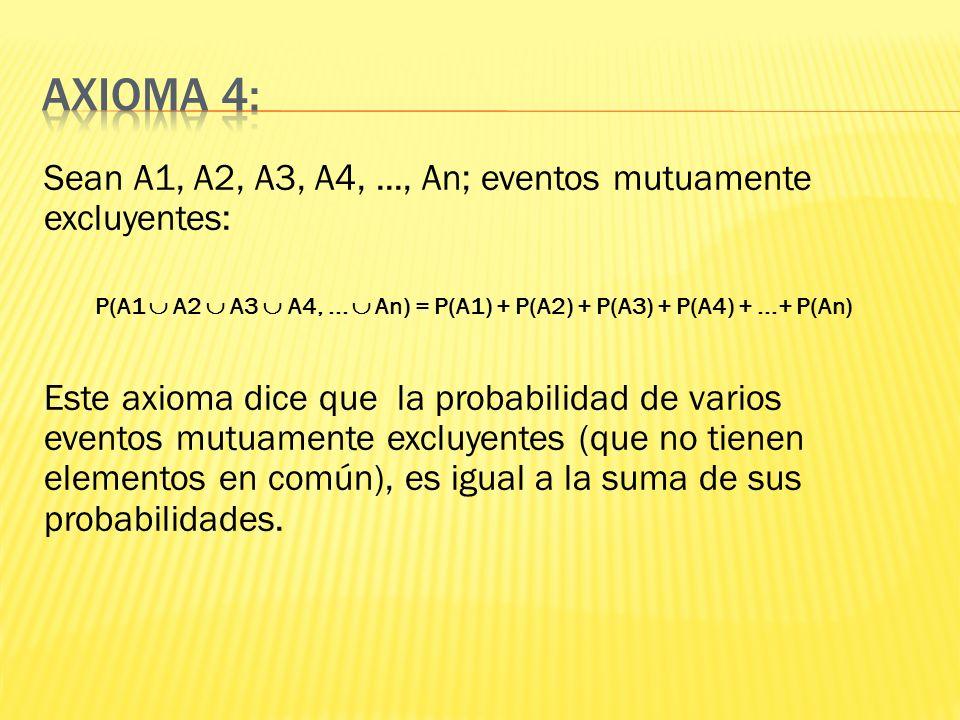 Sean A1, A2, A3, A4,..., An; eventos mutuamente excluyentes: P(A1 A2 A3 A4,... An) = P(A1) + P(A2) + P(A3) + P(A4) +...+ P(An) Este axioma dice que la