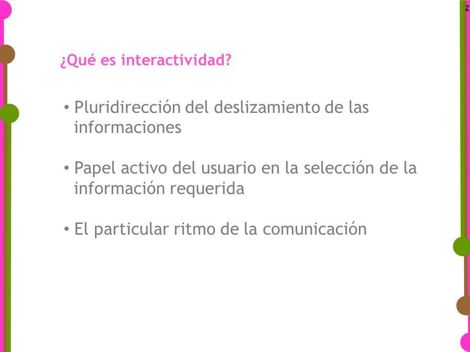 z Pluridirección del deslizamiento de las informaciones Papel activo del usuario en la selección de la información requerida El particular ritmo de la comunicación ¿Qué es interactividad