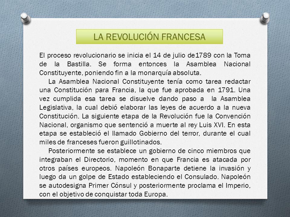 LA REVOLUCIÓN FRANCESA El proceso revolucionario se inicia el 14 de julio de1789 con la Toma de la Bastilla. Se forma entonces la Asamblea Nacional Co
