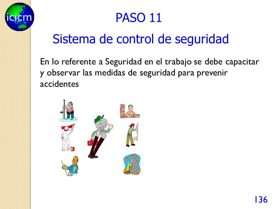icicm 136 PASO 11 Sistema de control de seguridad En lo referente a Seguridad en el trabajo se debe capacitar y observar las medidas de seguridad para prevenir accidentes