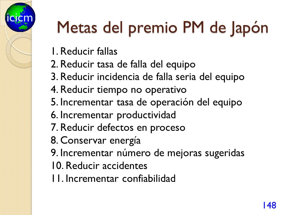 icicm Metas del premio PM de Japón 1. Reducir fallas 2. Reducir tasa de falla del equipo 3. Reducir incidencia de falla seria del equipo 4. Reducir ti