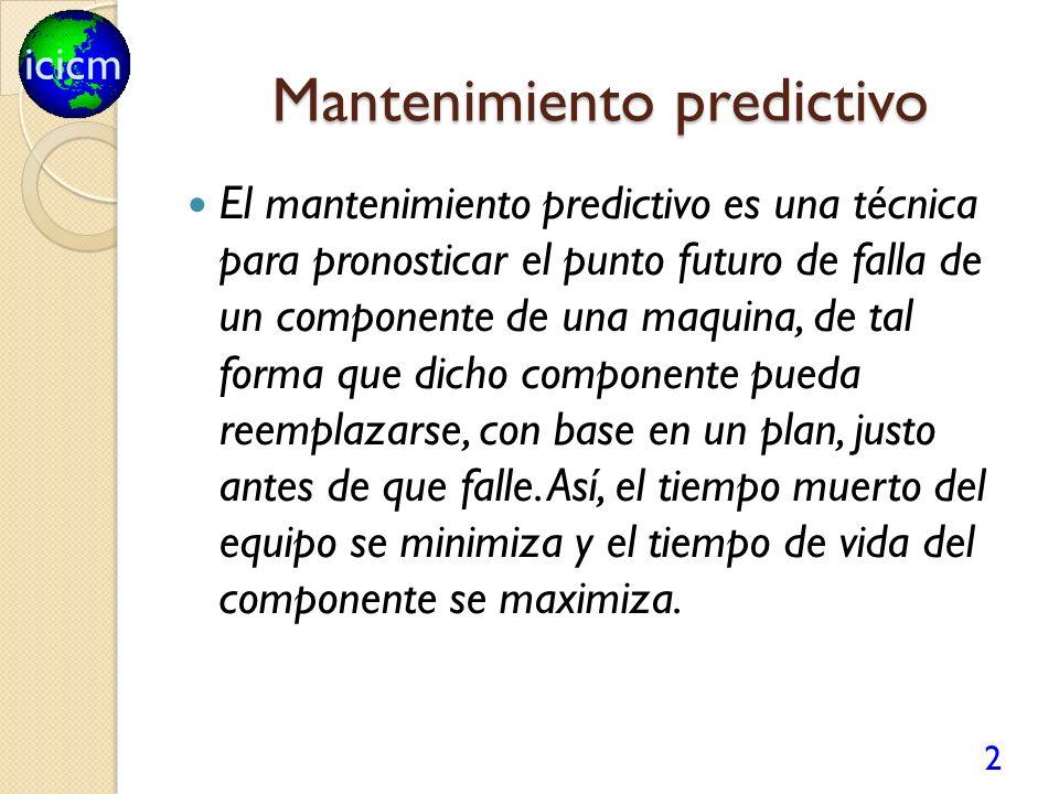 icicm Mantenimiento predictivo El mantenimiento predictivo es una técnica para pronosticar el punto futuro de falla de un componente de una maquina, de tal forma que dicho componente pueda reemplazarse, con base en un plan, justo antes de que falle.