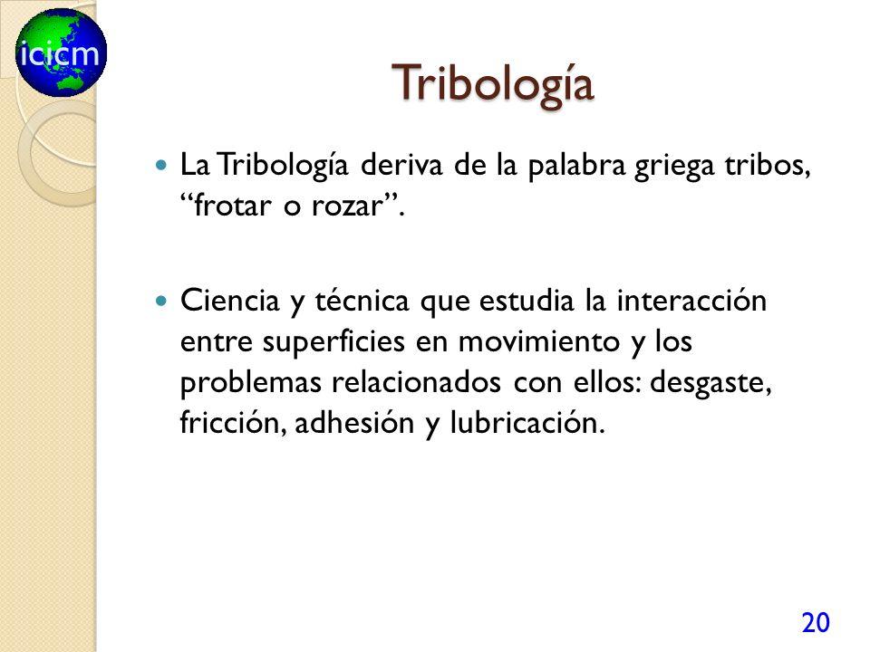 icicm Tribología La Tribología deriva de la palabra griega tribos, frotar o rozar. Ciencia y técnica que estudia la interacción entre superficies en m
