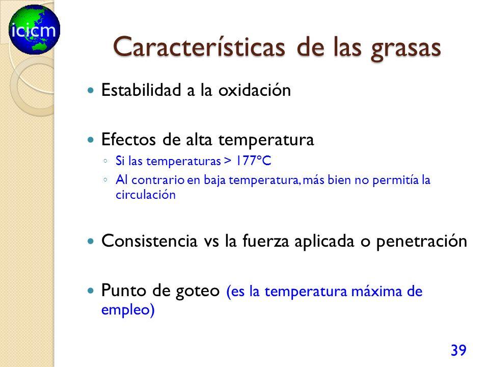 icicm Características de las grasas Estabilidad a la oxidación Efectos de alta temperatura Si las temperaturas > 177ºC Al contrario en baja temperatura, más bien no permitía la circulación Consistencia vs la fuerza aplicada o penetración Punto de goteo (es la temperatura máxima de empleo) 39