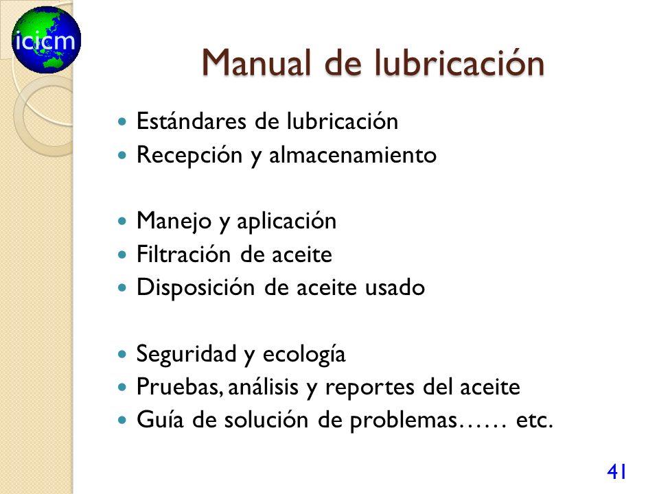 icicm Manual de lubricación Estándares de lubricación Recepción y almacenamiento Manejo y aplicación Filtración de aceite Disposición de aceite usado