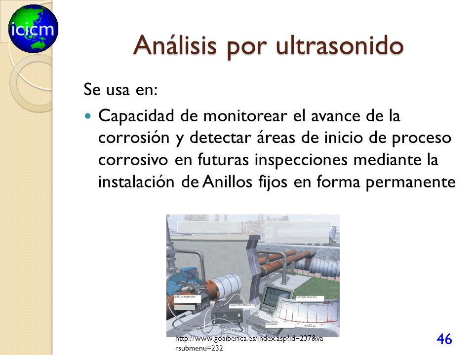 icicm Análisis por ultrasonido Se usa en: Capacidad de monitorear el avance de la corrosión y detectar áreas de inicio de proceso corrosivo en futuras inspecciones mediante la instalación de Anillos fijos en forma permanente 46 http://www.goaiberica.es/index.asp?id=237&va rsubmenu=232