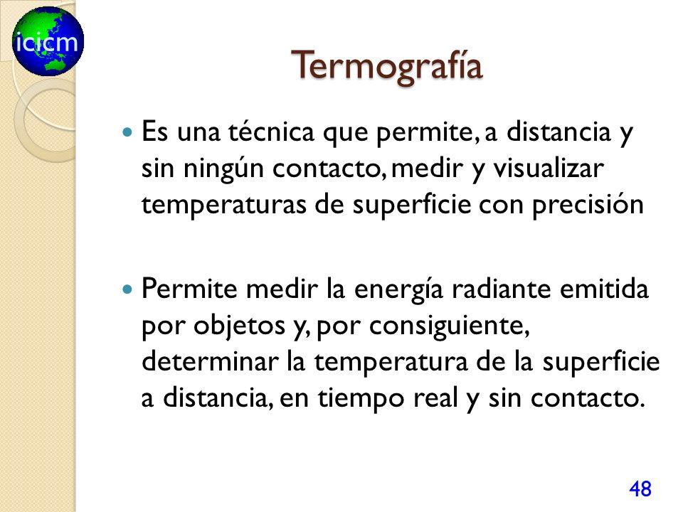 icicm Termografía Es una técnica que permite, a distancia y sin ningún contacto, medir y visualizar temperaturas de superficie con precisión Permite medir la energía radiante emitida por objetos y, por consiguiente, determinar la temperatura de la superficie a distancia, en tiempo real y sin contacto.