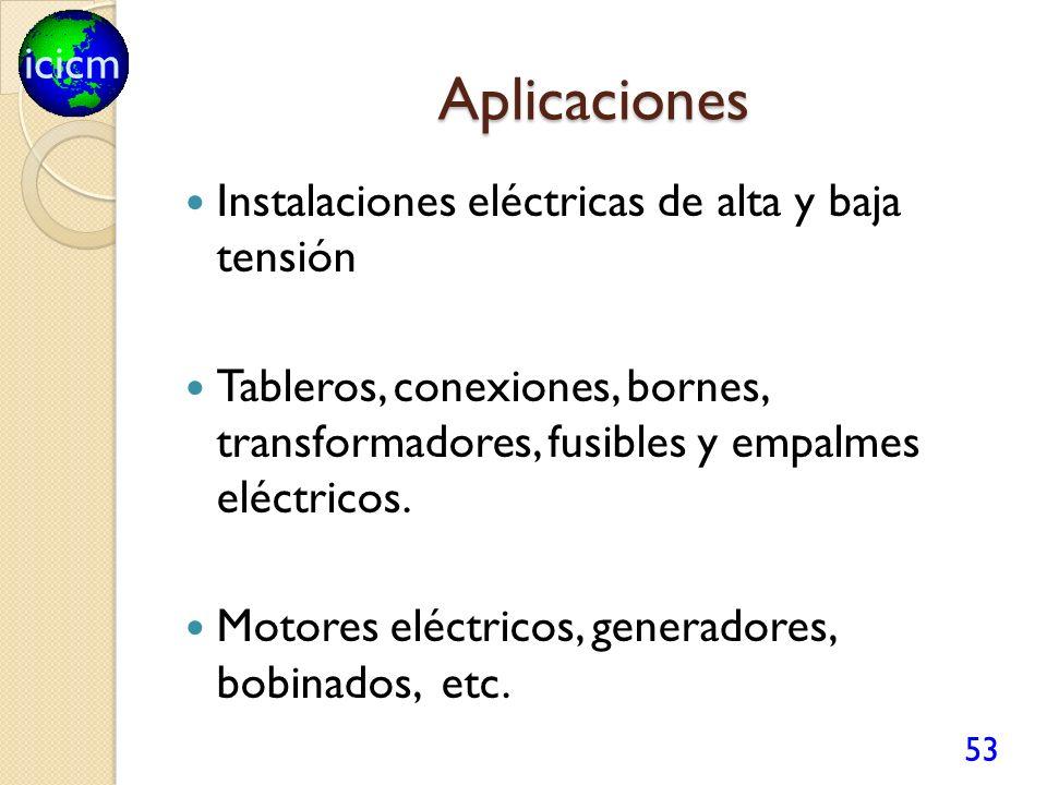 icicm Aplicaciones Instalaciones eléctricas de alta y baja tensión Tableros, conexiones, bornes, transformadores, fusibles y empalmes eléctricos.