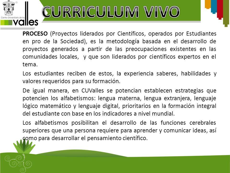 PROCESO (Proyectos liderados por Científicos, operados por Estudiantes en pro de la Sociedad), es la metodología basada en el desarrollo de proyectos