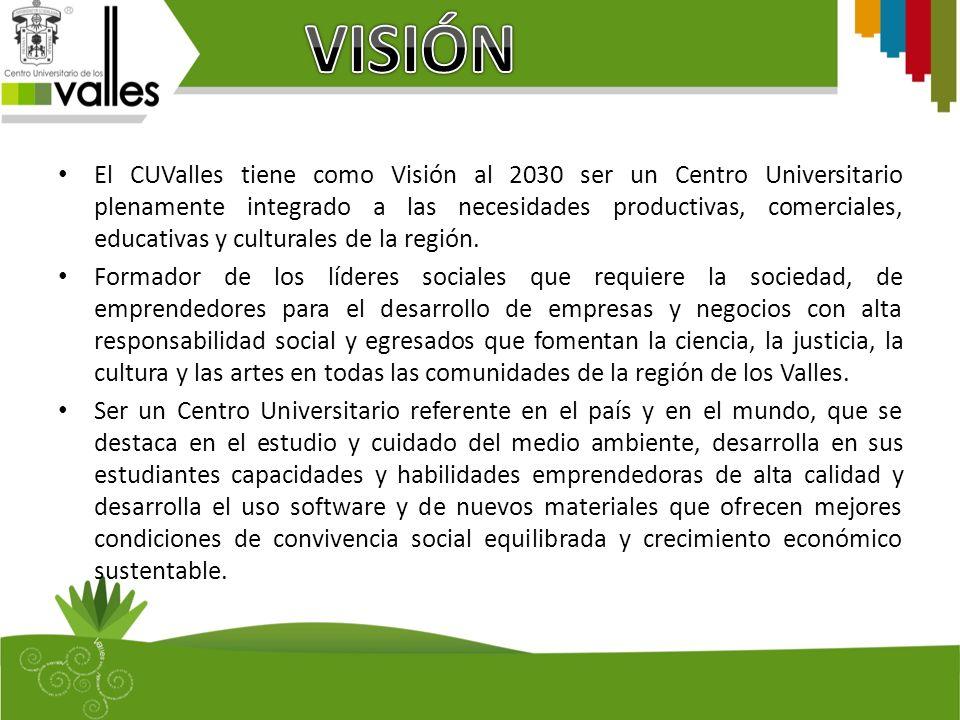 El CUValles tiene como Visión al 2030 ser un Centro Universitario plenamente integrado a las necesidades productivas, comerciales, educativas y culturales de la región.
