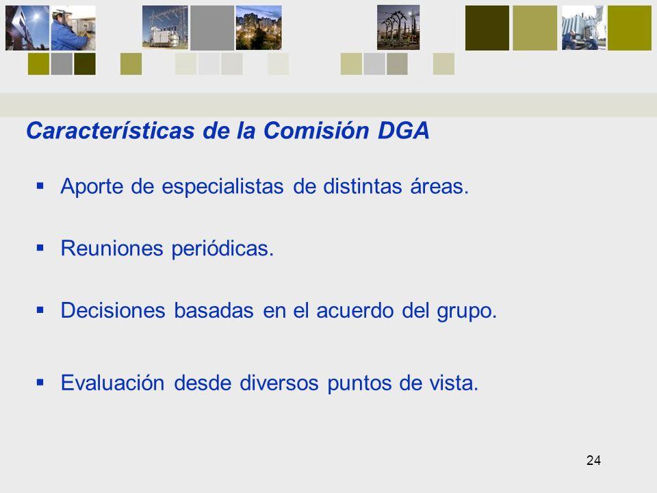 Características de la Comisión DGA Aporte de especialistas de distintas áreas. Reuniones periódicas. Decisiones basadas en el acuerdo del grupo. Evalu