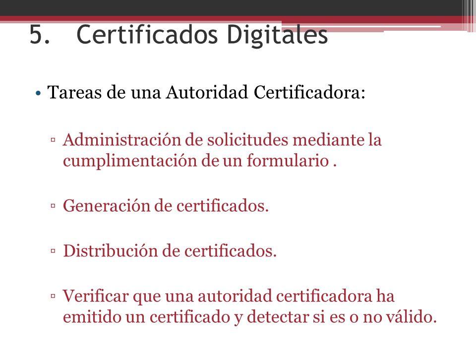 5.Certificados Digitales Tareas de una Autoridad Certificadora: Administración de solicitudes mediante la cumplimentación de un formulario.