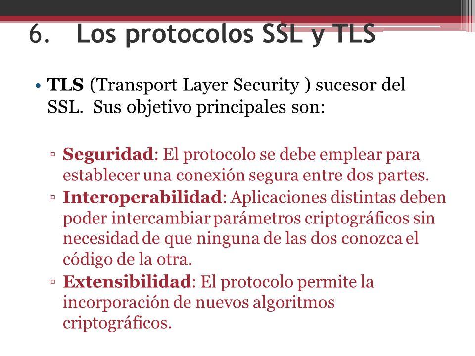 6.Los protocolos SSL y TLS TLS (Transport Layer Security ) sucesor del SSL.