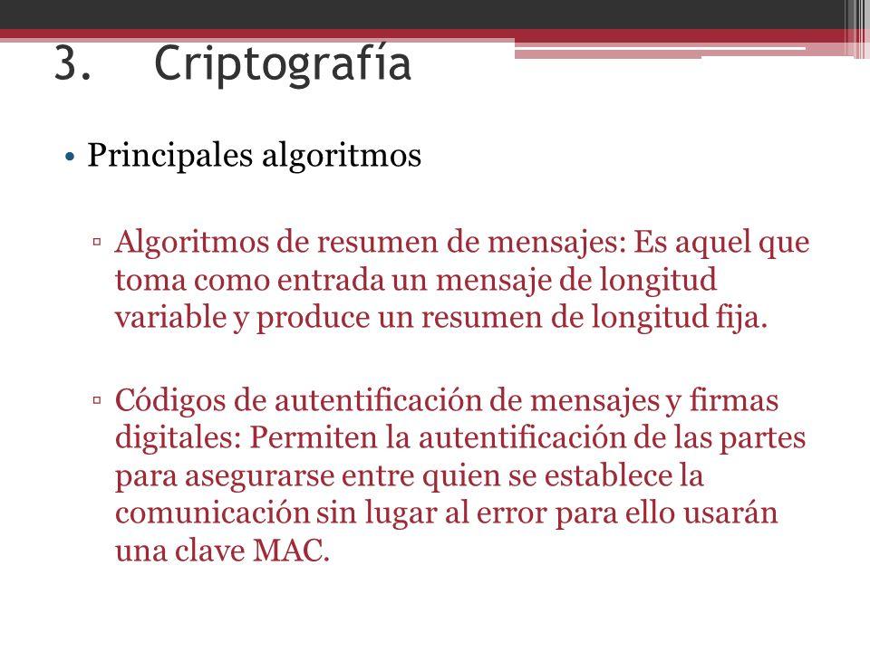 3. Criptografía Principales algoritmos Algoritmos de resumen de mensajes: Es aquel que toma como entrada un mensaje de longitud variable y produce un