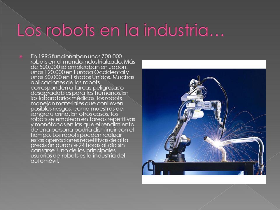 En 1995 funcionaban unos 700.000 robots en el mundo industrializado. Más de 500.000 se empleaban en Japón, unos 120.000 en Europa Occidental y unos 60