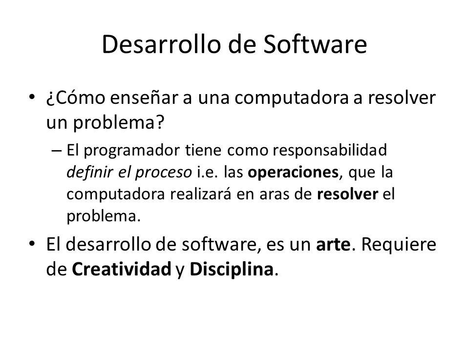 Desarrollo de Software ¿Cómo enseñar a una computadora a resolver un problema? – El programador tiene como responsabilidad definir el proceso i.e. las
