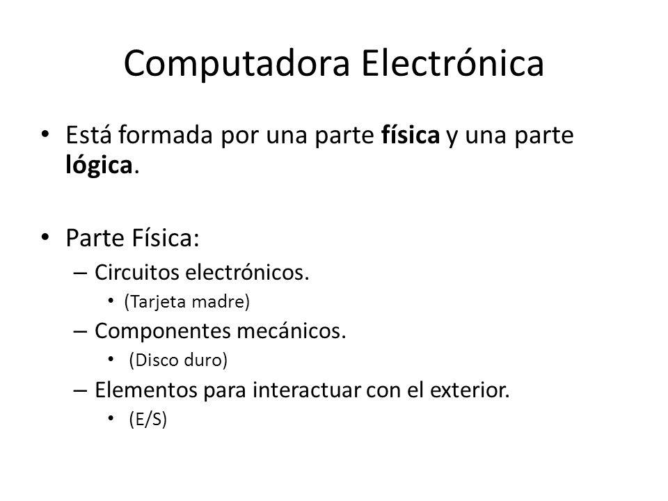 Computadora Electrónica Está formada por una parte física y una parte lógica. Parte Física: – Circuitos electrónicos. (Tarjeta madre) – Componentes me