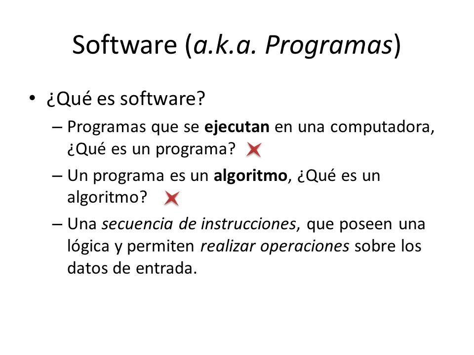 Software (a.k.a. Programas) ¿Qué es software? – Programas que se ejecutan en una computadora, ¿Qué es un programa? – Un programa es un algoritmo, ¿Qué
