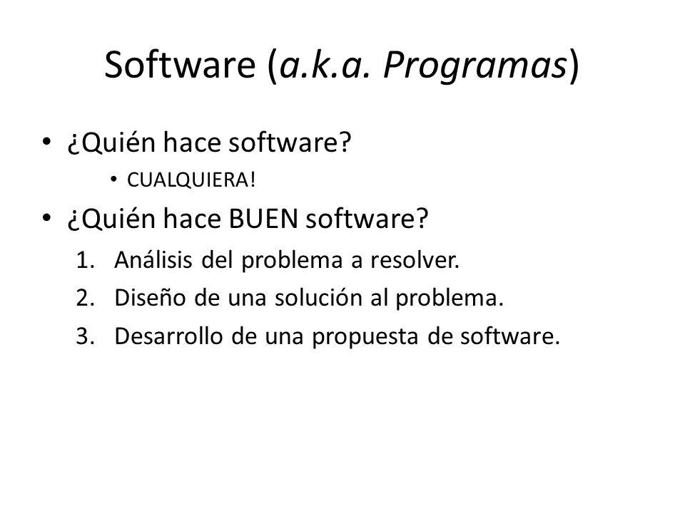 Software (a.k.a. Programas) ¿Quién hace software? CUALQUIERA! ¿Quién hace BUEN software? 1.Análisis del problema a resolver. 2.Diseño de una solución