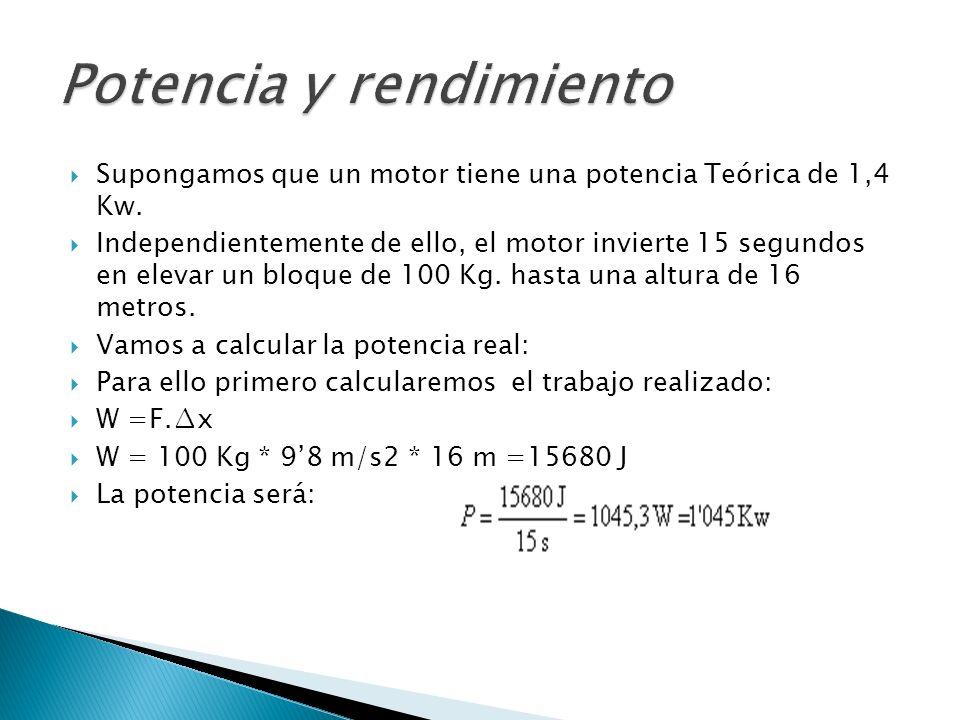Supongamos que un motor tiene una potencia Teórica de 1,4 Kw. Independientemente de ello, el motor invierte 15 segundos en elevar un bloque de 100 Kg.