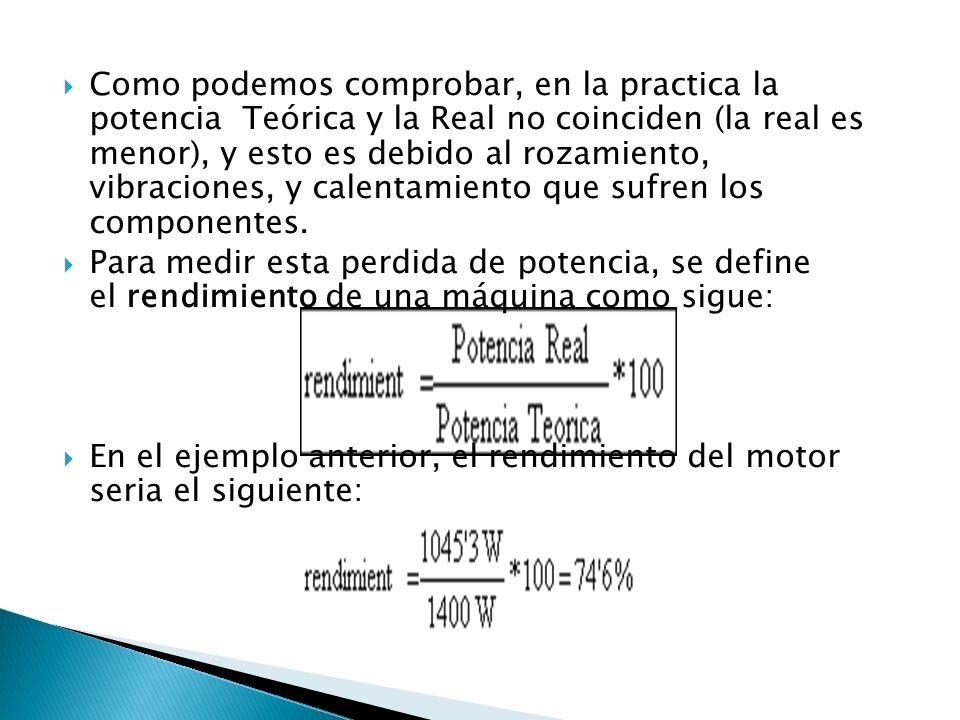Como podemos comprobar, en la practica la potencia Teórica y la Real no coinciden (la real es menor), y esto es debido al rozamiento, vibraciones, y c