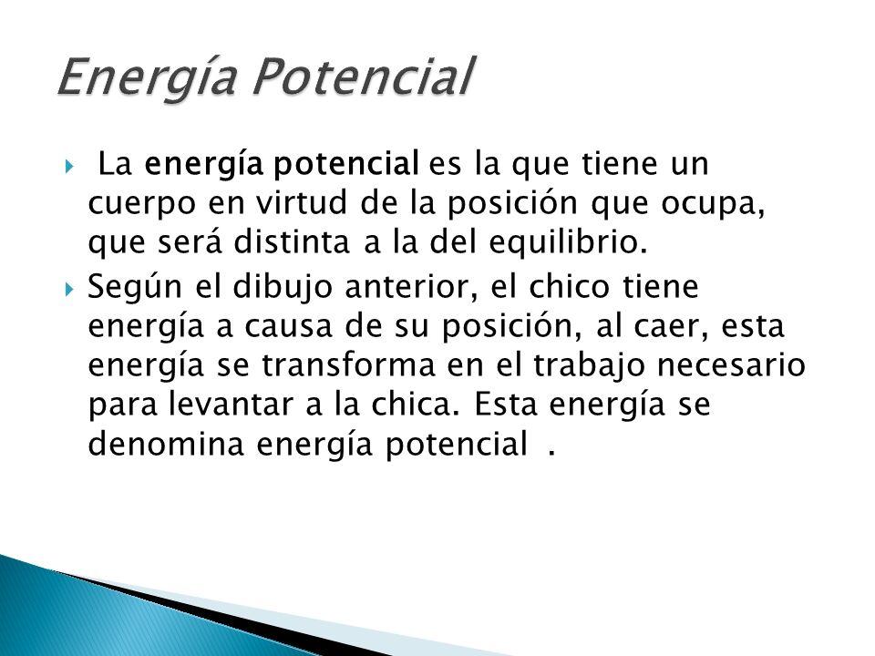 La energía potencial es la que tiene un cuerpo en virtud de la posición que ocupa, que será distinta a la del equilibrio. Según el dibujo anterior, el