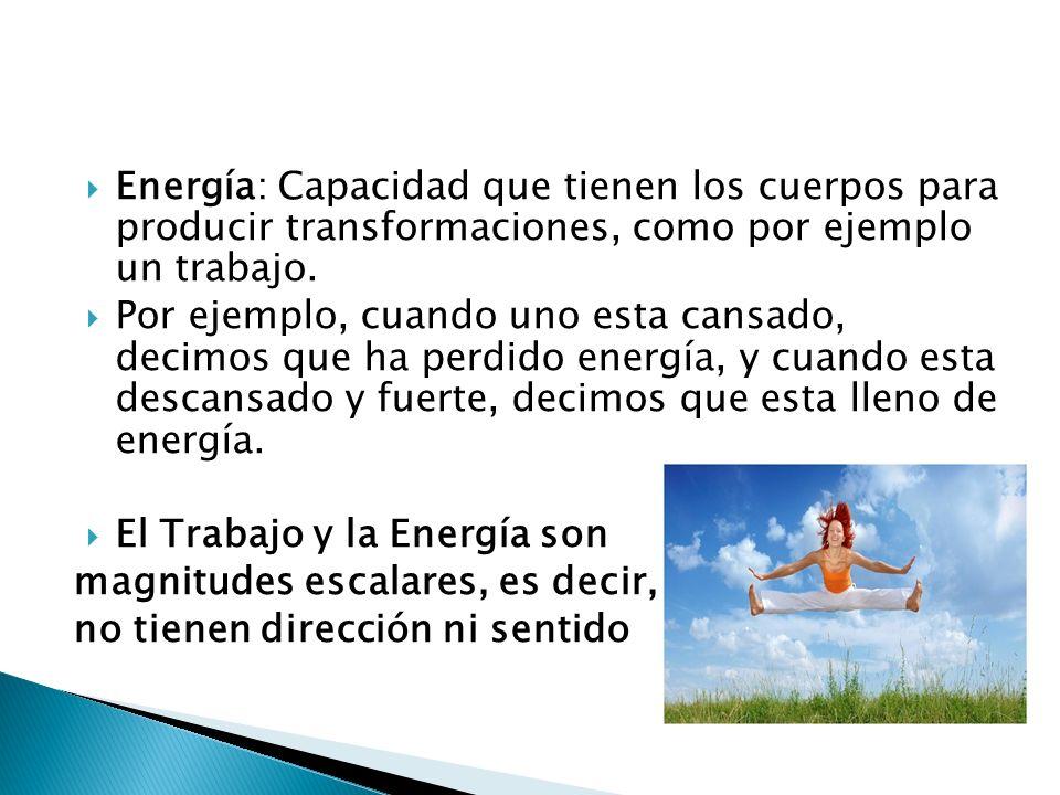 Energía: Capacidad que tienen los cuerpos para producir transformaciones, como por ejemplo un trabajo. Por ejemplo, cuando uno esta cansado, decimos q