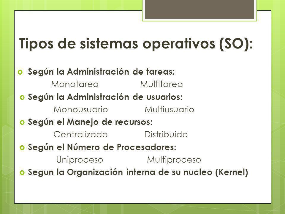 Tipos de sistemas operativos (SO): Según la Administración de tareas: Monotarea Multitarea Según la Administración de usuarios: Monousuario Multiusuar