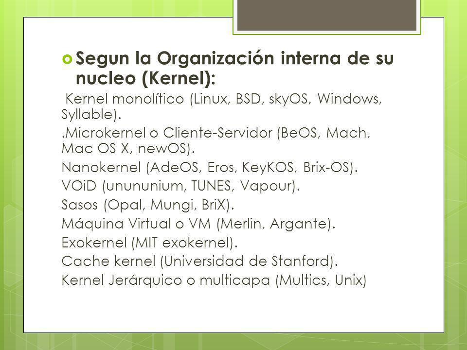 Segun la Organización interna de su nucleo (Kernel): Kernel monolítico (Linux, BSD, skyOS, Windows, Syllable)..Microkernel o Cliente-Servidor (BeOS, M