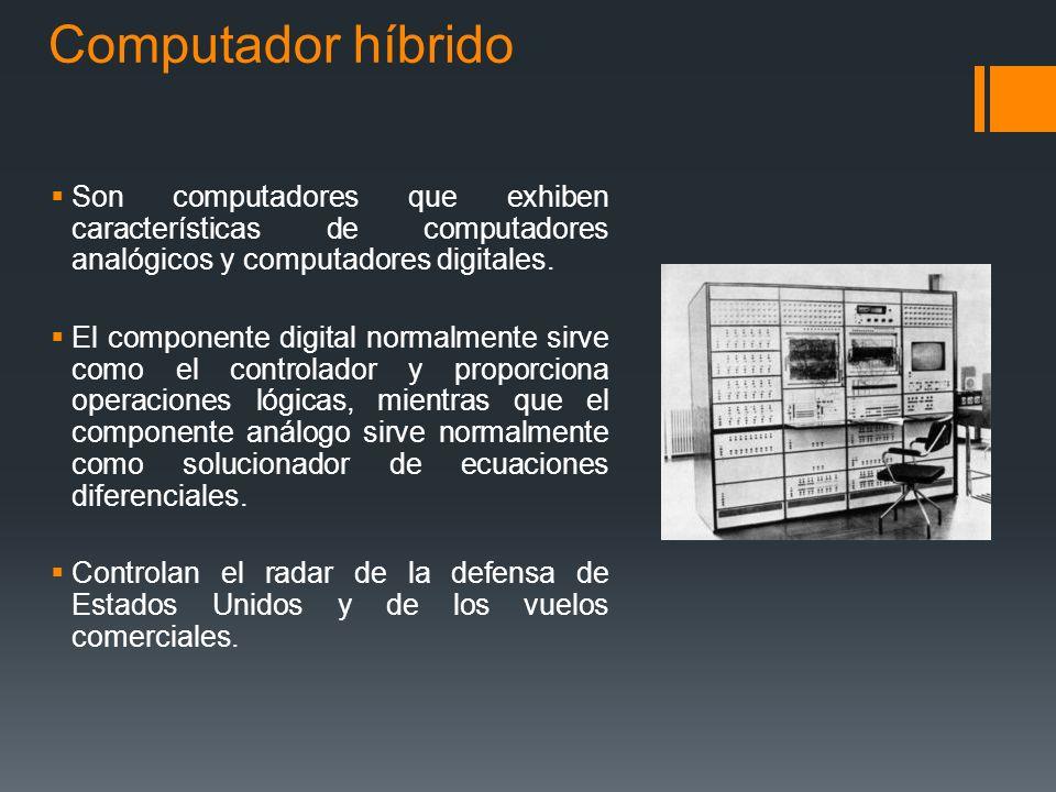 Híbrida La computadora Híbrida es un sistema construido de una computadora Digital y una Análoga, conectados a través de una interfaz que permite el i
