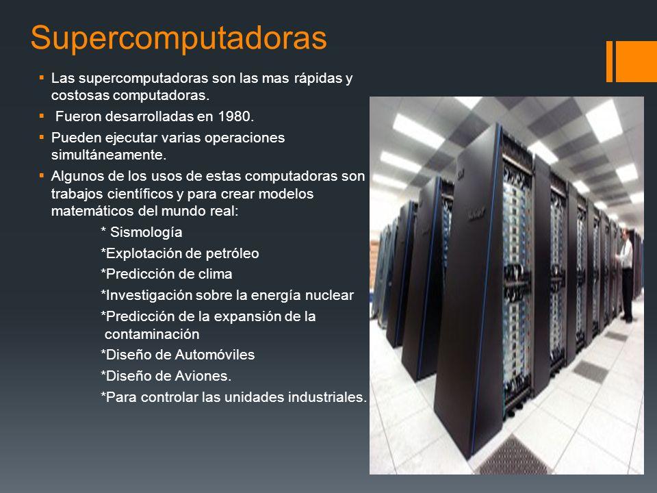 CLASIFICACION DE LAS COMPUTADORAS DE CONFORME A SU TAMAÑO Y POTENCIA Los parámetros que marcan la diferencia entre las computadoras son: tamaño, costo