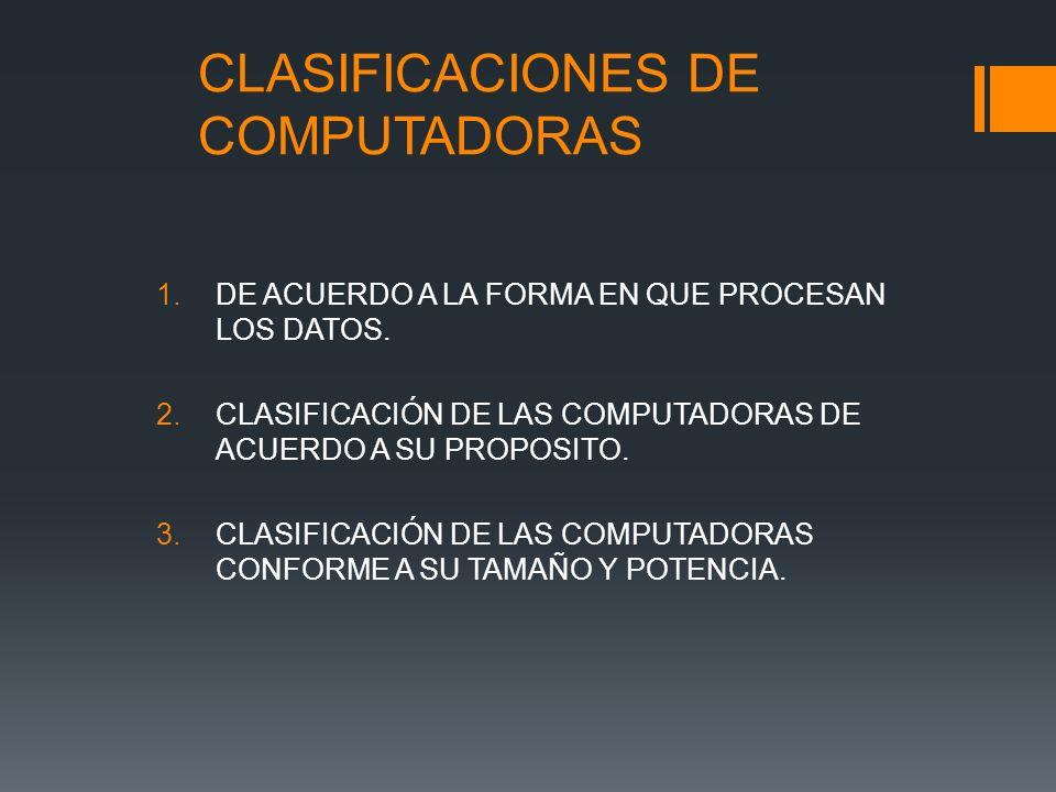 CLASIFICACIONES DE COMPUTADORAS 1.DE ACUERDO A LA FORMA EN QUE PROCESAN LOS DATOS.