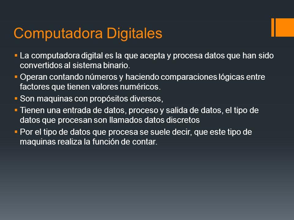 Computadora Digitales La computadora digital es la que acepta y procesa datos que han sido convertidos al sistema binario.