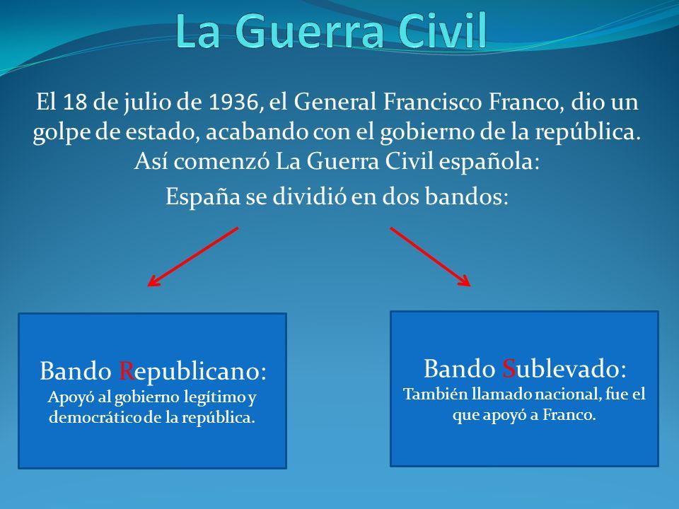 El 18 de julio de 1936, el General Francisco Franco, dio un golpe de estado, acabando con el gobierno de la república. Así comenzó La Guerra Civil esp