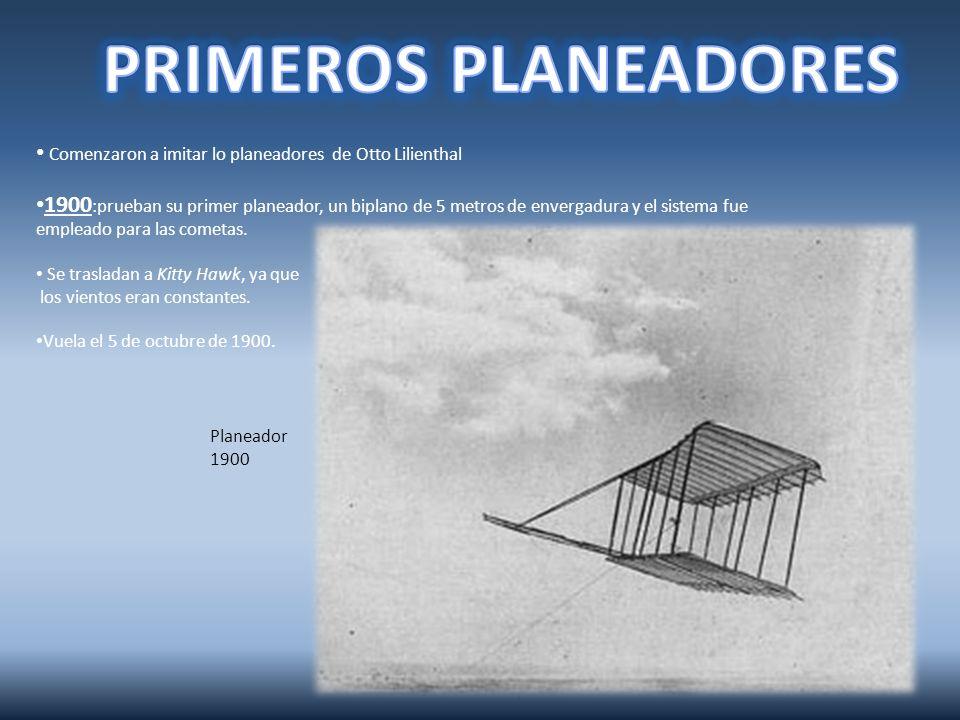 Planeador 1901: 1.Similar al planeador de 1900 pero con alas más grandes.