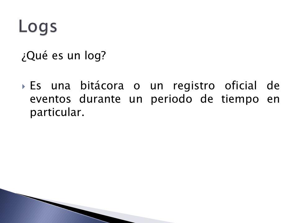 ¿Qué es un log? Es una bitácora o un registro oficial de eventos durante un periodo de tiempo en particular.