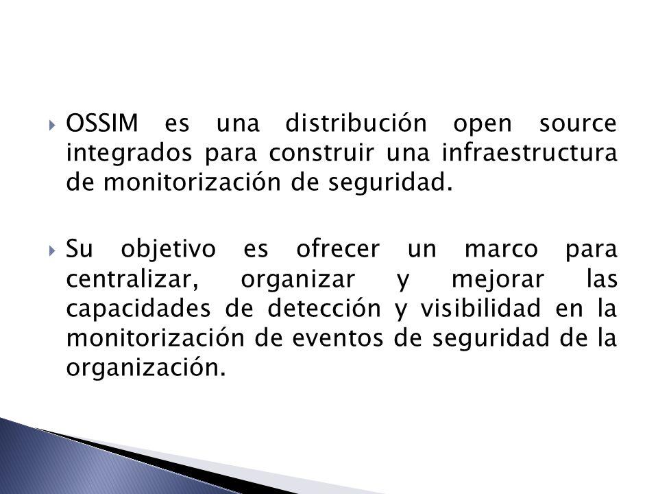 OSSIM es una distribución open source integrados para construir una infraestructura de monitorización de seguridad. Su objetivo es ofrecer un marco pa