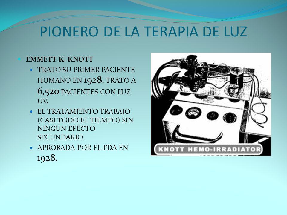 PIONERO DE LA TERAPIA DE LUZ EMMETT K. KNOTT TRATO SU PRIMER PACIENTE HUMANO EN 1928. TRATO A 6,520 PACIENTES CON LUZ UV. EL TRATAMIENTO TRABAJO (CASI