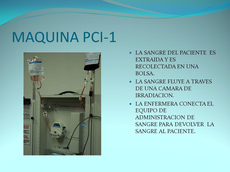 MAQUINA PCI-1 LA SANGRE DEL PACIENTE ES EXTRAIDA Y ES RECOLECTADA EN UNA BOLSA. LA SANGRE FLUYE A TRAVES DE UNA CAMARA DE IRRADIACION. LA ENFERMERA CO