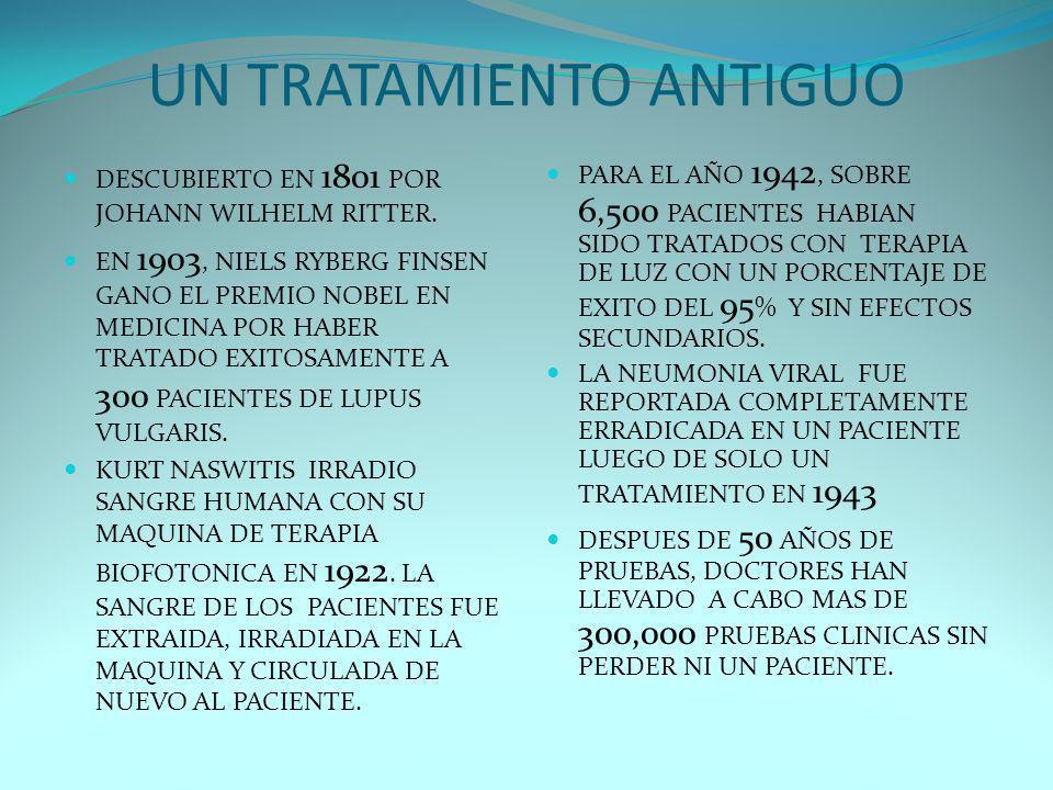 UN TRATAMIENTO ANTIGUO DESCUBIERTO EN 1801 POR JOHANN WILHELM RITTER. EN 1903, NIELS RYBERG FINSEN GANO EL PREMIO NOBEL EN MEDICINA POR HABER TRATADO