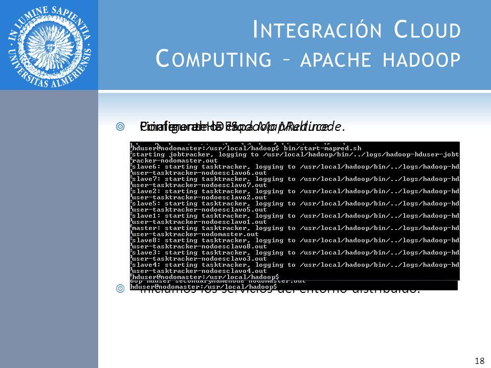 I NTEGRACIÓN C LOUD C OMPUTING – APACHE HADOOP Configuramos Hadoop Multinode. Iniciamos los servicios del entorno distribuido. Primero el HDFS. Finalm