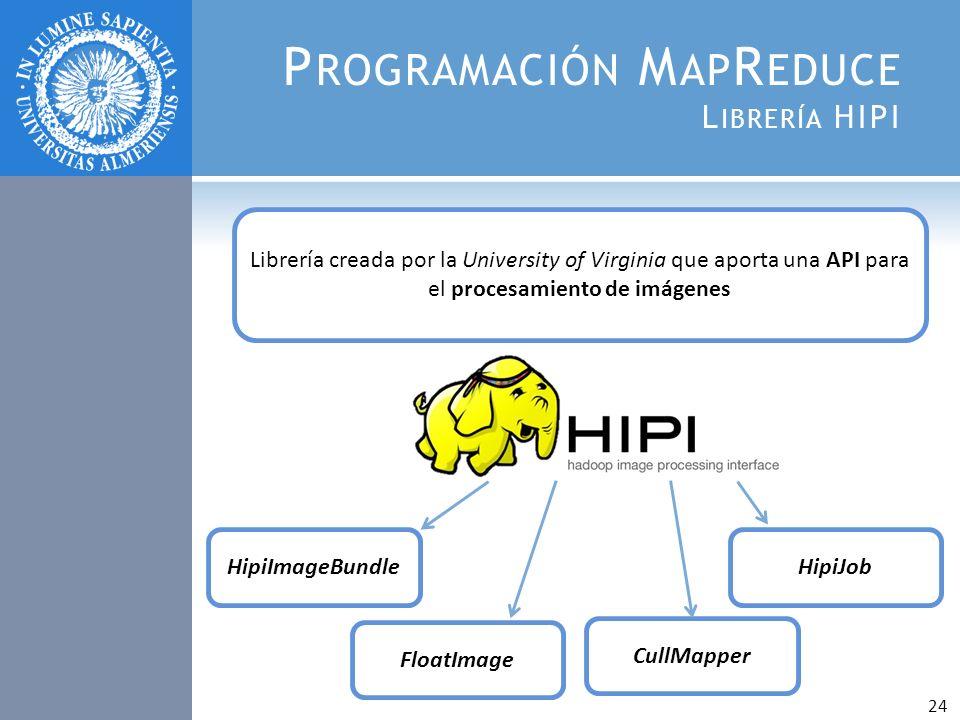 P ROGRAMACIÓN M AP R EDUCE L IBRERÍA HIPI Librería creada por la University of Virginia que aporta una API para el procesamiento de imágenes HipiImage