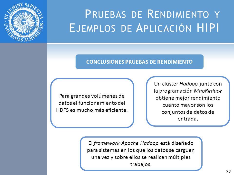 P RUEBAS DE R ENDIMIENTO Y E JEMPLOS DE A PLICACIÓN HIPI Para grandes volúmenes de datos el funcionamiento del HDFS es mucho más eficiente. Un clúster