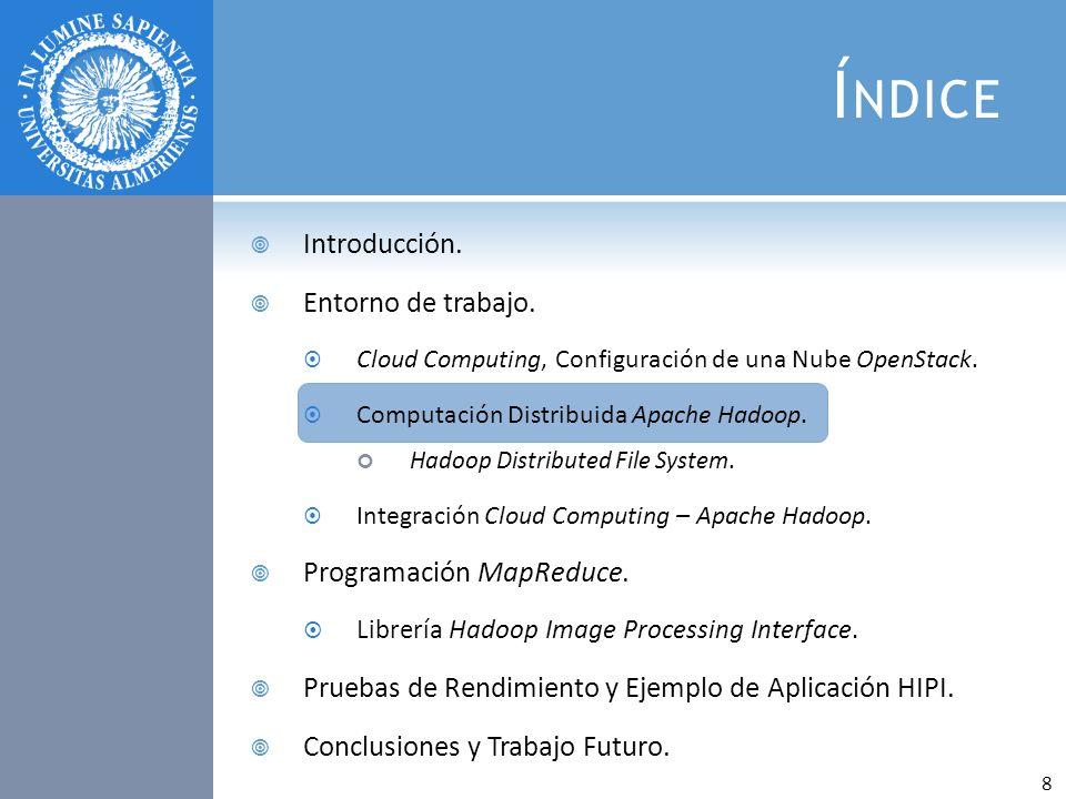 Í NDICE Introducción. Entorno de trabajo. Cloud Computing, Configuración de una Nube OpenStack. Computación Distribuida Apache Hadoop. Hadoop Distribu