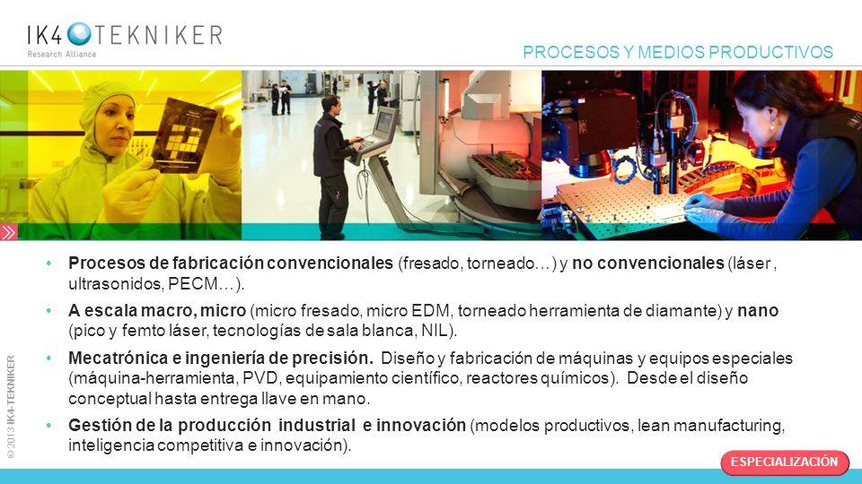 © 2013 IK4-TEKNIKER PROCESOS Y MEDIOS PRODUCTIVOS Procesos de fabricación convencionales (fresado, torneado…) y no convencionales (láser, ultrasonidos